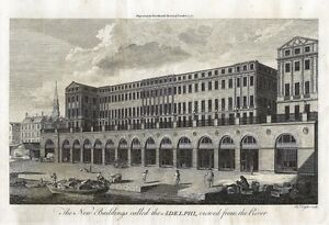 Antique-engraving-The-new-building-called-the-Adelphi-viewed-from-the-River