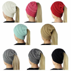 Ponytail-Beanie-Hat-High-Bun-Knitted-Cap-Skull-Stretchy-Winter-Warm-Women
