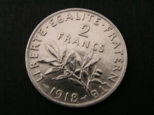2 Francs Semeuse Argent/Silver 835/1000ème, Roty, 1918  SPLEND++ presque FDC...