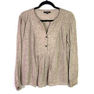Lafayette-148-Womens-Sz-M-top-Blouse-linen-Half-Front-Button-brown-pleated