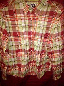 Rockies-mens-Western-plaid-button-down-size-Lg-long-sleeve-multi-color