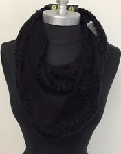 New Winter Warm 2-Circle Cable Knit Cowl Long Infinity Scarf Wrap Soft Black