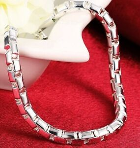 925-Sterling-Silver-Bracelet-Womens-Large-8-034-Round-Box-Link-Chain-wGiftPkg-D615