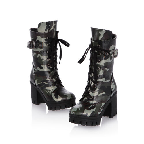 Womens Ladies Camouflage Lace Up Boots Platform Stylish Cuban Heels Boots Shoes