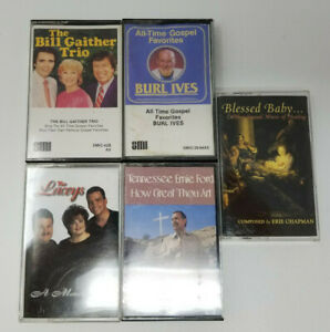 Set-of-5-Cassettes-Gospel-Bill-Gaither-Trio-Burl-Ives-Tennessee-Ernie-Ford-Lacey