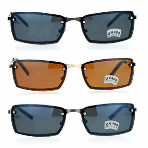 c925e720fac Image is loading SA106-Mens-Rimless-Narrow-Rectangular-Agent-Sunglasses