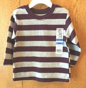 Infant-Boy-039-s-LS-Striped-Tee-Purple-amp-Gray-Size-12M-New