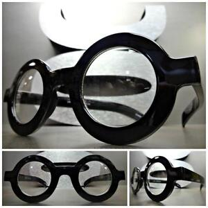 1f0a117f75 Details about VINTAGE RETRO WALDO Style Clear Lens EYE GLASSES Round Thick  Black Fashion Frame