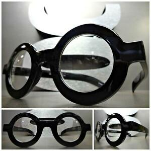3cff3f662a VINTAGE RETRO WALDO Style Clear Lens EYE GLASSES Round Thick Black ...
