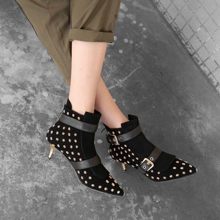 compra meglio donna Fashion Leather scarpe Studs Buckle Straps Straps Straps Kitten Heel Ankle stivali Pointed  consegna gratuita