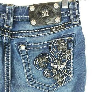 Miss-Me-Womens-Size-26-Skinny-Leg-Low-Rise-Jeans-Inseam-30-inch-JP5576S2
