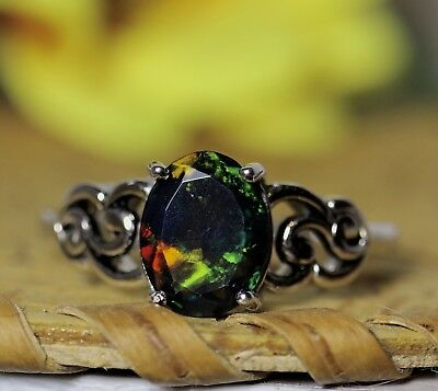 Gift for her Black Opal Jewelry 925 Sterling Ring Dark Opal Ring Genuine Black Opal Ring Black Gemstone Ring Natural Black Opal