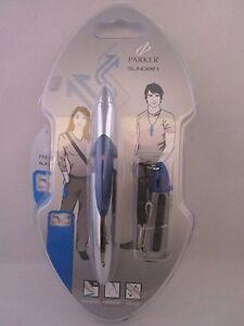 Parker-Slinger-II-Write-Wear-Chrome-And-Blue-Ballpoint-Pen