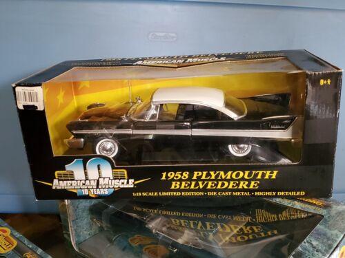 Ertl American Muscle 1958 Plymouth Belvedere 1:18 Scale Diecast Model Car Black