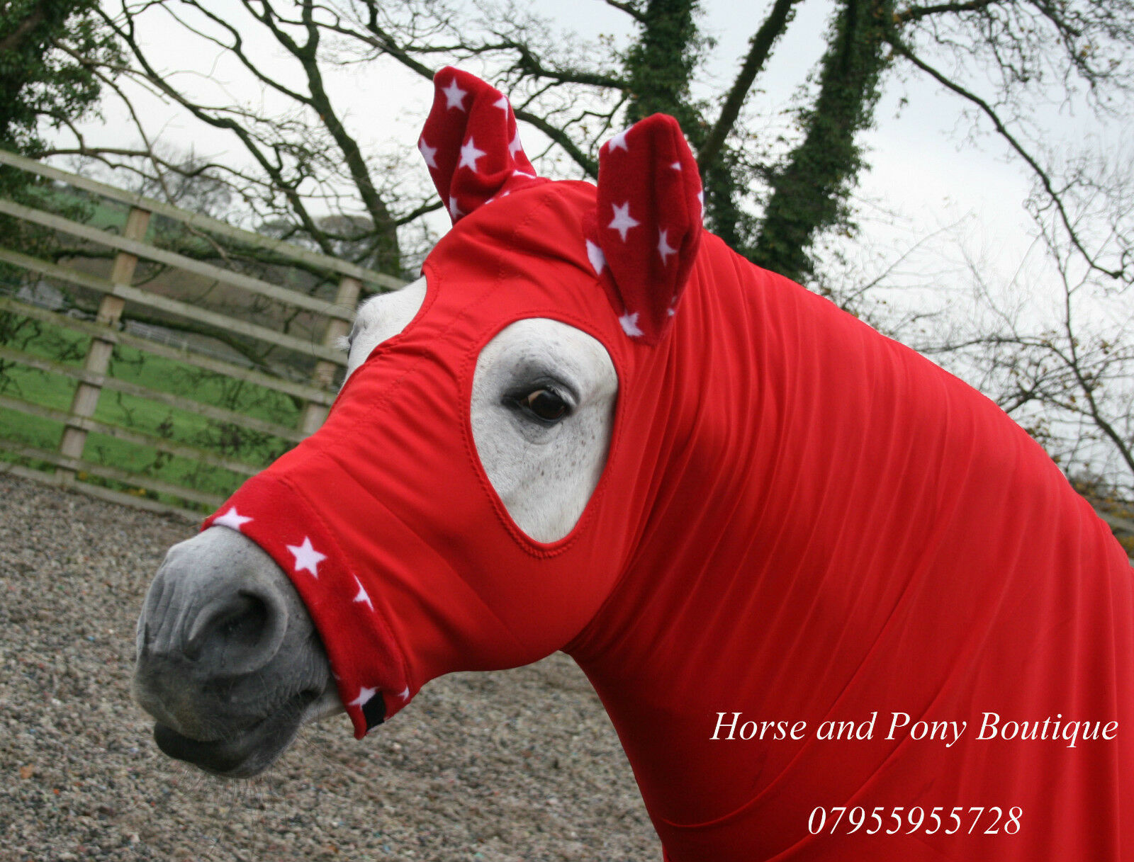 Red horse hood with fleece trim, with or without zip, horse hood