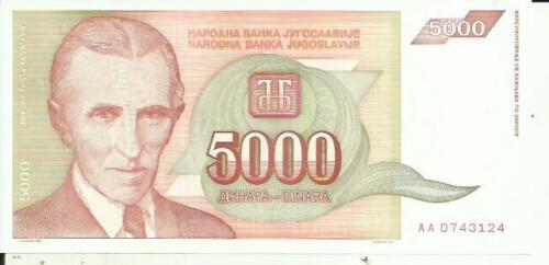 YUGOSLAVIA 5000 DINARA 1993 P 128. UNC CONDITION. 4RW 09MAR