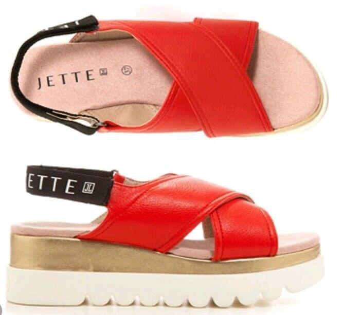 JETTE Damen-Sandale Lederimitat Klettverschluss weiße Sohle Gr.38