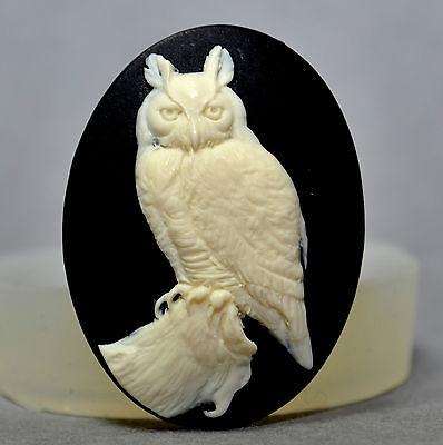 OWL CAMEO - silicone mould - food use, resin, fimo, wax, ... MOLD (2) CAMEO