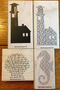 My Sentiments Exactly Lot of 4 Rubber Stamps Lighthouse, Shell and Seahorse