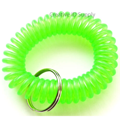 WHOLESALE 12 24 50 100 PCS SPIRAL WRIST COIL KEY CHAIN KEY RING HOLDER GREEN
