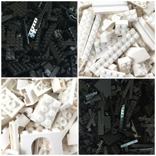 Lego BLACK /& WHITE 200 Piece Bulk Creative Building Lot Buy 3 Get 1 FREE
