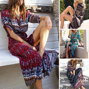 Plus-Size-5XL-Dress-Sundress-Short-Sleeve-Women-Summer-Beach-Long-Maxi