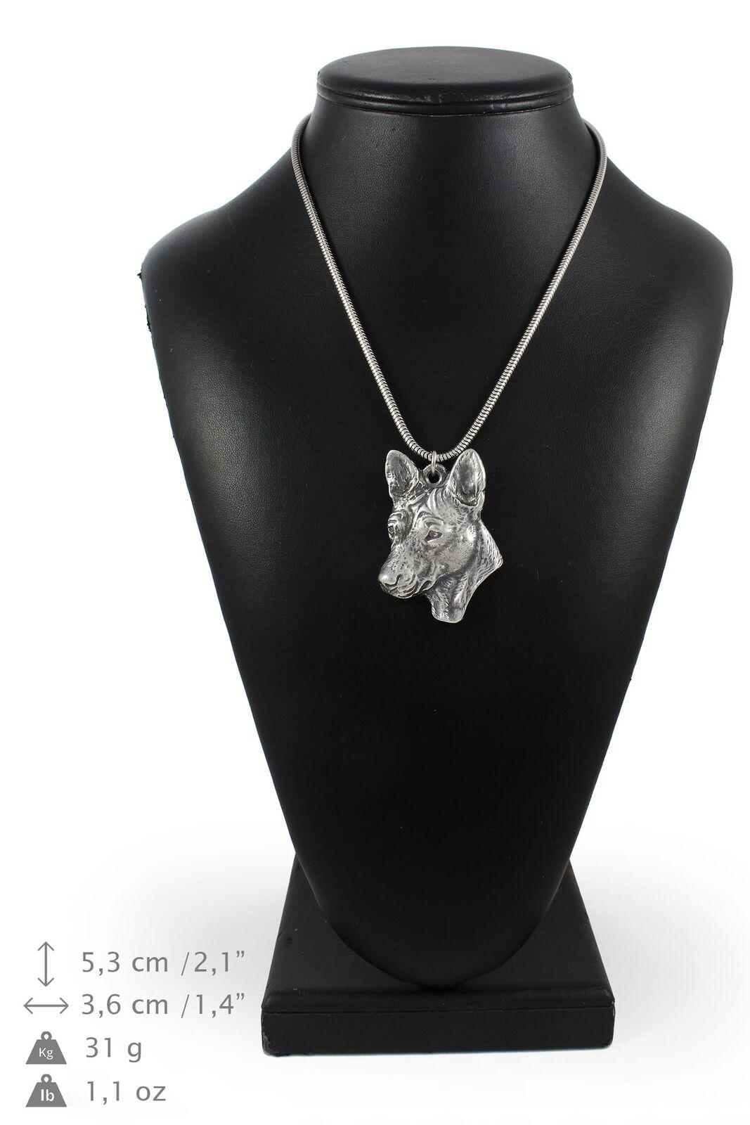 Basenji - silver plaqué collier sur une cordon en silver Art Dog FR