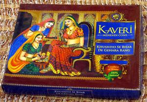 12-X-Natural-Herbal-Henna-Cones-Temporary-Tattoo-kit-Body-Art-Mehandi-ink-Kaveri