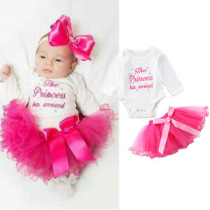 eacd70b6b 2pcs Baby Girl Clothes Newborn Romper Bodysuit+ Tutu Dress Skirts ...