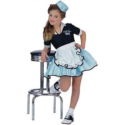 50s Girl Costume Kids Car Hop Waitress Halloween Fancy Dress Up