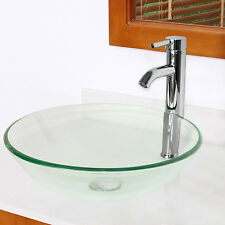Clear Tempered Glass Vessel Bathroom Sink Combo Chrome Faucet & Pop-up Drain Set