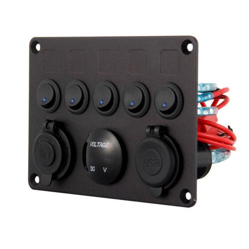 Auto Bus Boot LED 5 Gang Schaltpanel Schalter Schalttafel Voltmeter 12V-24V DECC