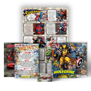 Marvel DC Comic Themed Wedding Table Seating Plan Chart Place Cards