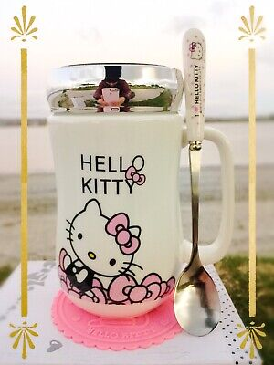 Hello Kitty Cute Ceramic Cup Hot Tea Milk Coffee Mug c//w Spoon /& Coasters 500ML