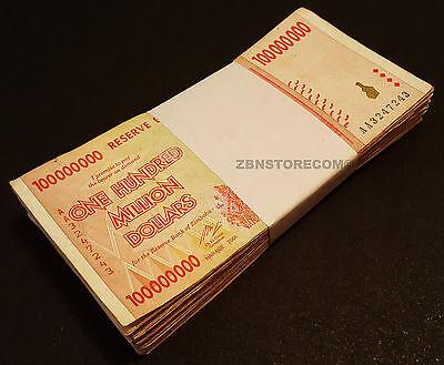 100 Million Zimbabwe Dollars x 100 Banknotes AA 2008 Bundle 100PCS Currency Lot