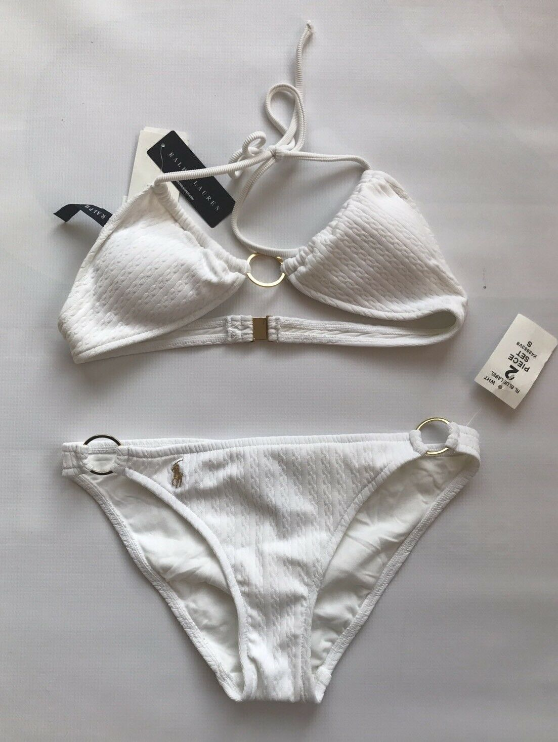 Polo Ralph Lauren 2 PC Women's Bathing Swimming Suit White gold Small Brand New