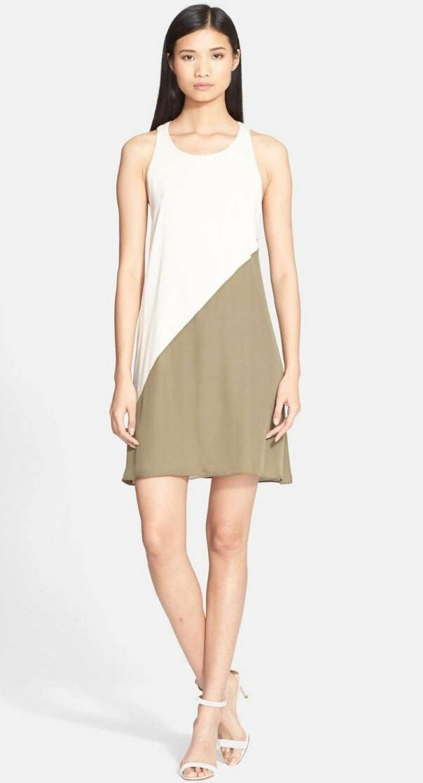 NWT  Alice + Olivia Marion Back Twist Stretch Silk Shift Dress [SZ XS ]
