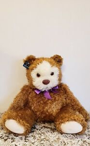 18-034-VINTAGE-APPLAUSE-BROWN-TEDDY-BEAR-STUFFED-ANIMAL-PLUSH-TOY-W-PURPLE-BOW-TIE