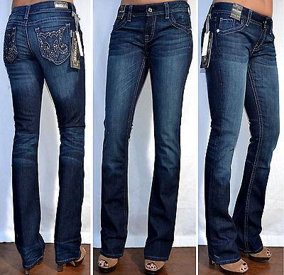 MEK Denim KASBAH Dark Blue Wash Women/'s Boot Cut Jeans with Rhinestones