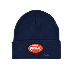 f3dba7bff2dfa NWT Supreme NY Men s Navy Blue Red Rubber Patch Logo Beanie Hat SS18 ...