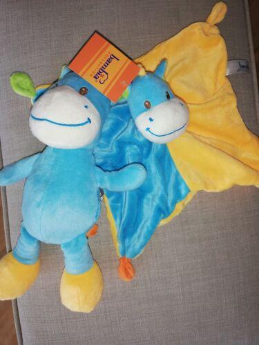 Neu Bambia Aldi Pferd Esel Blau Nilpferd Plüschtier Schmusetuch Kuscheltuch gelb