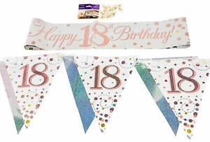 80th Birthday Decoration Kit Banner Bunting Confetti Rose Gold Him Her Men Women