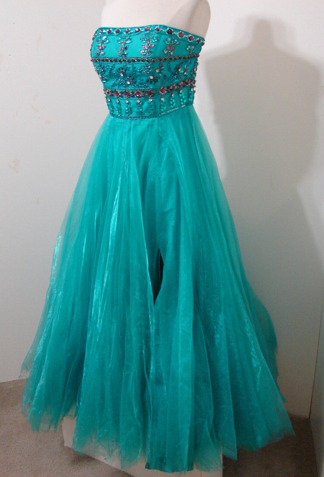 3cf1804f57f7 HILL Early Jeweled Cinderella Strapless Gown STUDIO USED 6 SHERRI Turquoise  nuyyyj4011-Dresses
