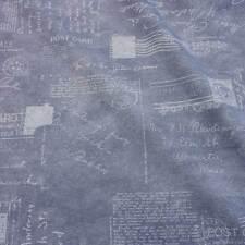 Stoff Baumwolle Meterware jeans blau Briefmarke Handschrift Stempel Cent neu