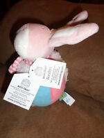 Bunny Rabbit Baby Ball Rich Frog Foozlers Stuffed Plush Rattle Toy pink white