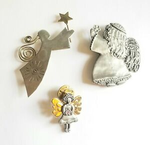 Vintage Hallmark angel holiday Christmas brooch pin  antique pewter  with coordinating pierced earrings