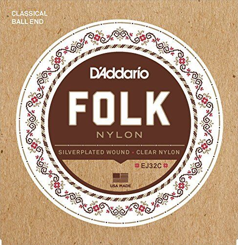 Silver Wound//Clear Nylon Trebles Ball End D/'Addario Folk Nylon Guitar Strings