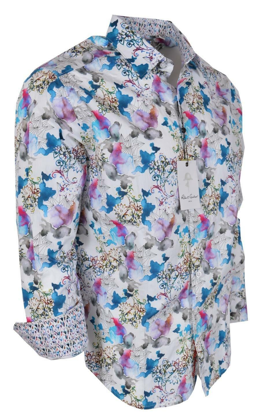 NEW Robert Graham  FLYING COLORS Floral Paisley Print Classic Fit Shirt