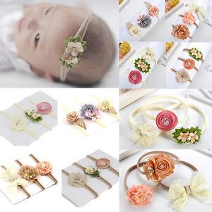3Pcs Baby Hair Accessory Newborn Toddler Flower Nylon Hairband Headband Unisex