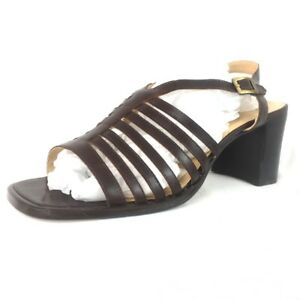 552dbb557a4 Details about Clarks Brown Leather Sandals Wide Fit Block Heel Gladiator  Brazil Size 8 41 10